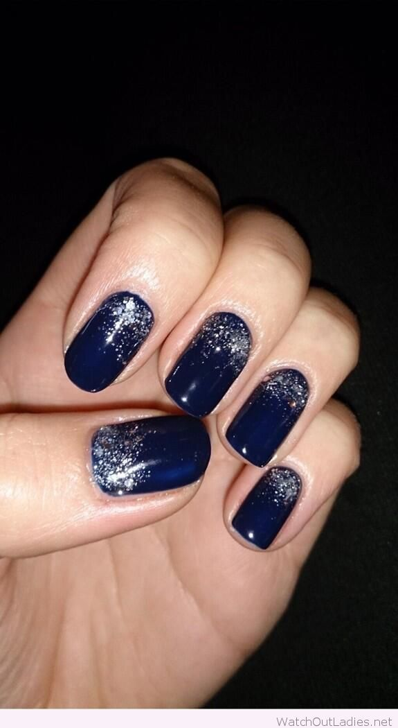 Navy and silver Christmas nails