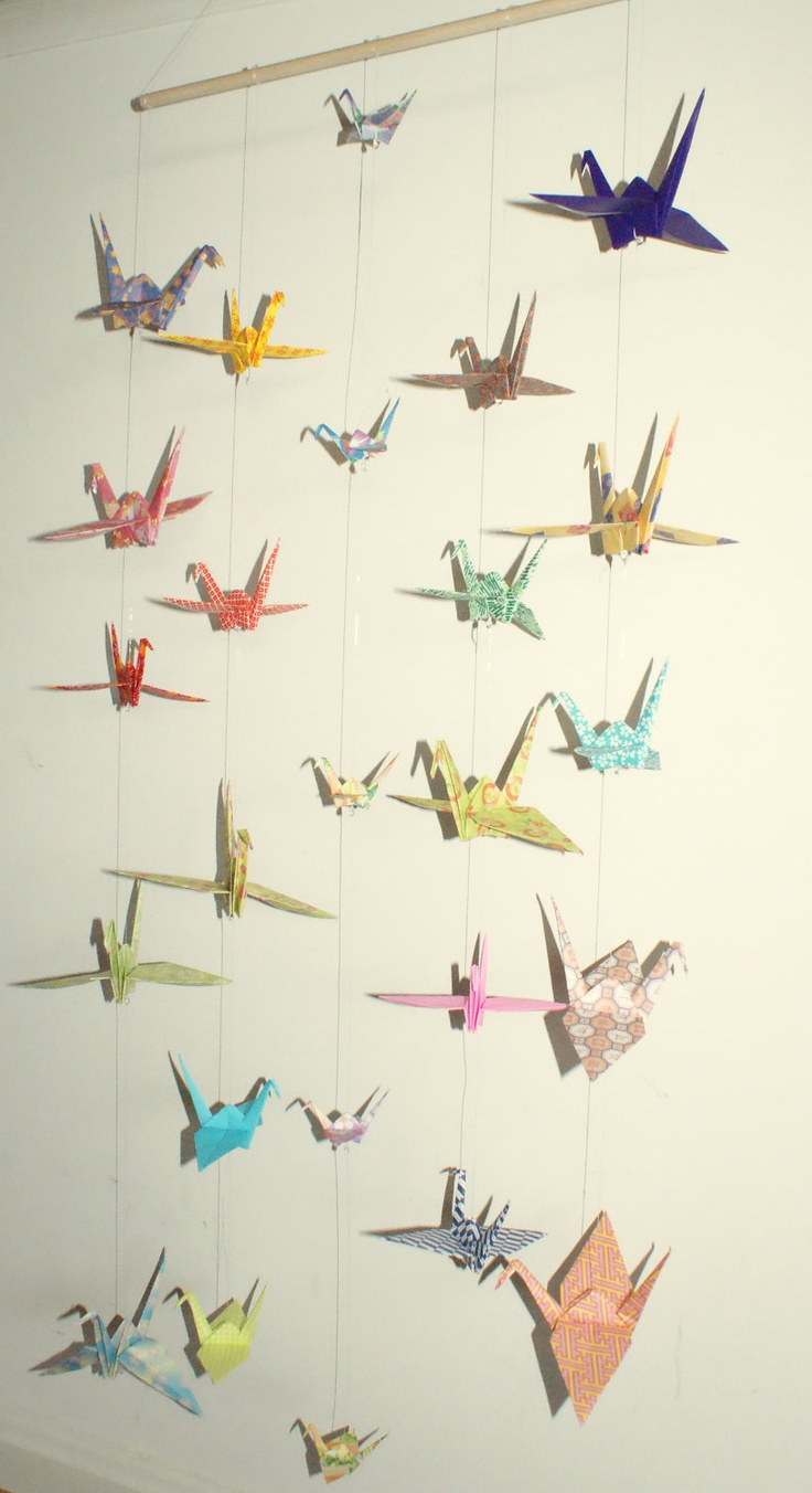 origami crane hanging mobile ready to ship