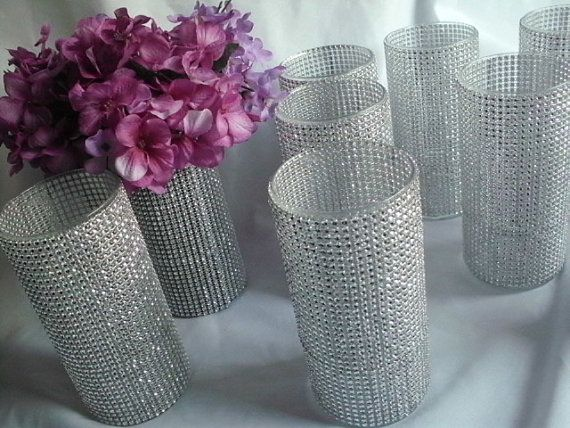 use our bulk diamond decorations http://pinterest.com/pin/110197522104773808 /to create these Bling Vases  #diamondweddingdecorations