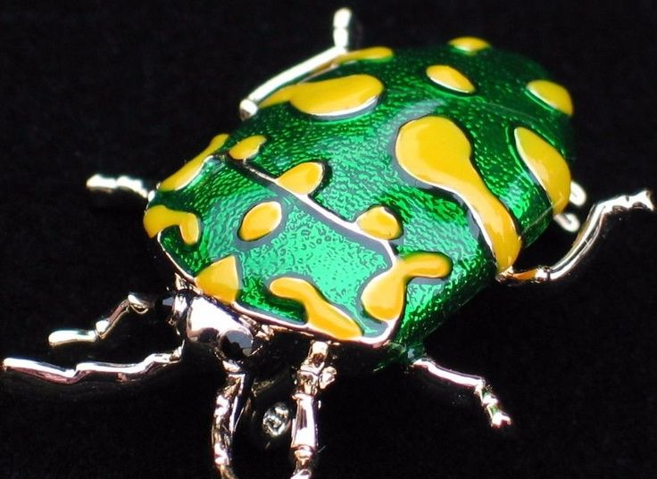 GREEN YELLOW FLEA TICK INSECT SCARAB JUNE BUG STAG BEETLE PIN BROOCH JEWELRY  #Unbranded