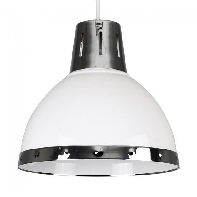 Industrial Style Portishead Domed Ceiling Pendant Shade With Polished Chrome Detail