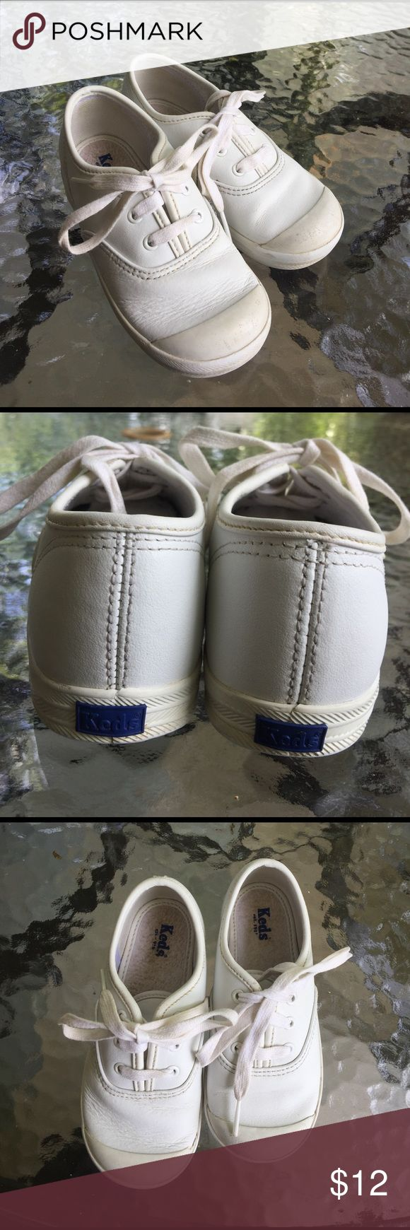 White Keds sneakers Good used condition white leather Keds with rubber toe. Keds Shoes Sneakers