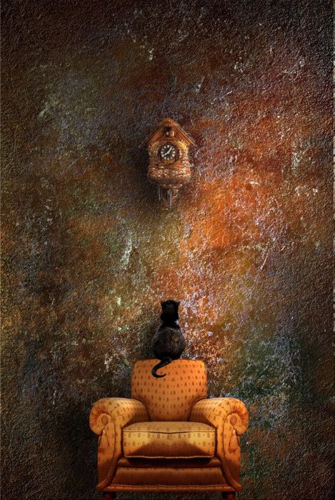 Wow - This has it all!  Great textured rusty wall, clock, black kitten & overstuffed chair.