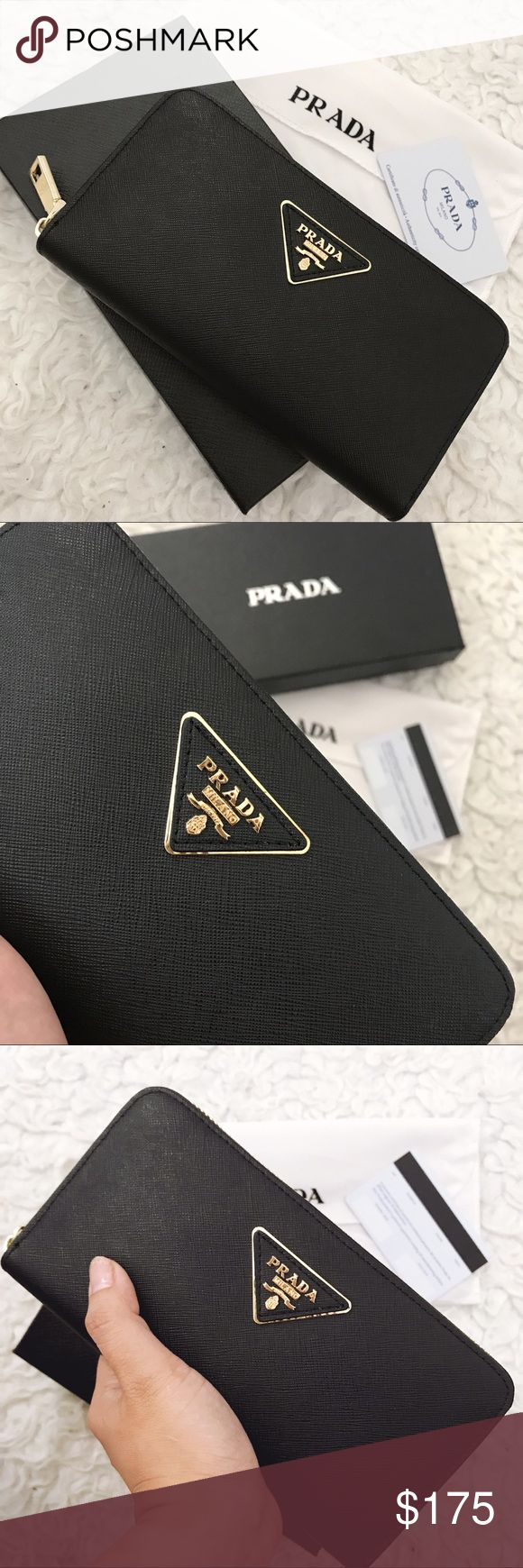 Prada Wallet Saffiano Price reflects A u t h en ti ci t y.  Bought this at HK. Brand new comes with Everything in the picture I will ship it together with Receipt, card, dust bag, box, paper bag.  If making an offer pls use the offer button only. Thank you. Prada Bags Wallets
