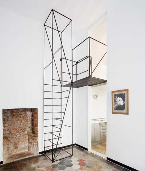 Staircase Ideas Creative Ways To Add Style: Unique Metal Staircase Design Allows Adding New Bedroom To
