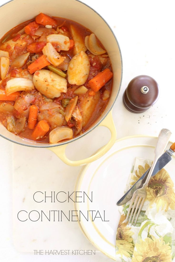 from The Harvest Kitchen / this Chicken Continental is your basic chicken stew with one ingredient that gives it it's delicious unique flavor. @theharvestkitchen.com
