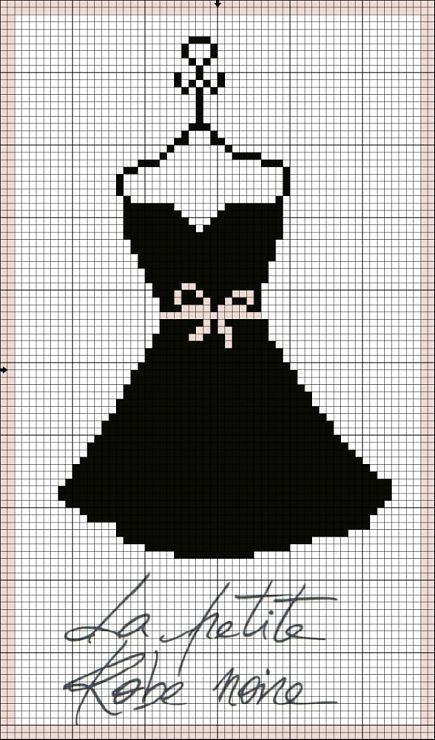 point de croix petite robe noire - cross stitch little black dress