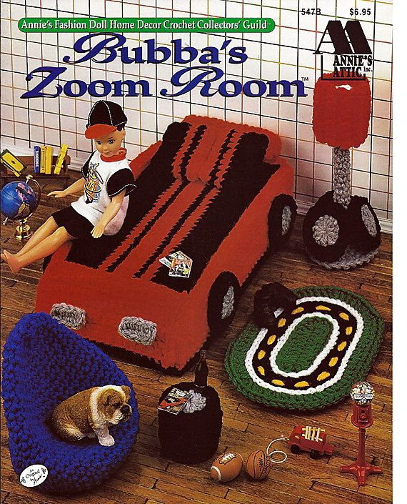 Bubba's Zoom Room, Barbies Brothers Room Crochet Furniture Pattern Annies Attic  547B. $10.00, via Etsy.