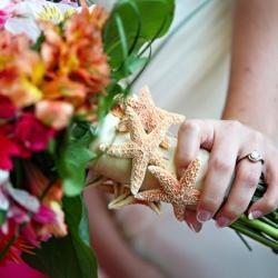 beach, wedding, details, starfish, bouquet, handle