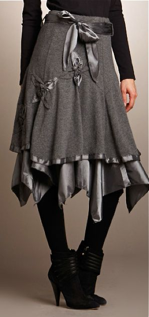 Adorable grey skirt with amazing texture. Love wool against satin.