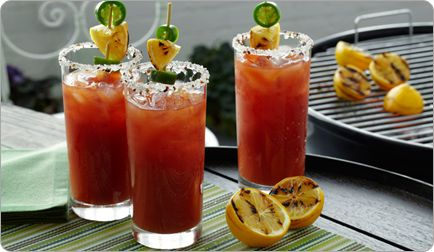 Low-Calorie Alcoholic Drink Recipe: Barbecued Bloody Mary - Shape Magazine. Oh this recipe is time consuming. But my man can smoke some meat. Will do and report back