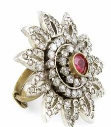 Buy Cocktail Victorian Finger Rings with Fuchsia Pink stone Online