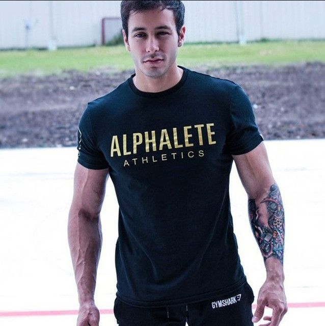 ALPHALETE New Brand mens T-shirts Crossfit Men Fitness T Shirt Printing Fashion Male Short Sleeve cotton Clothes Tees Tops