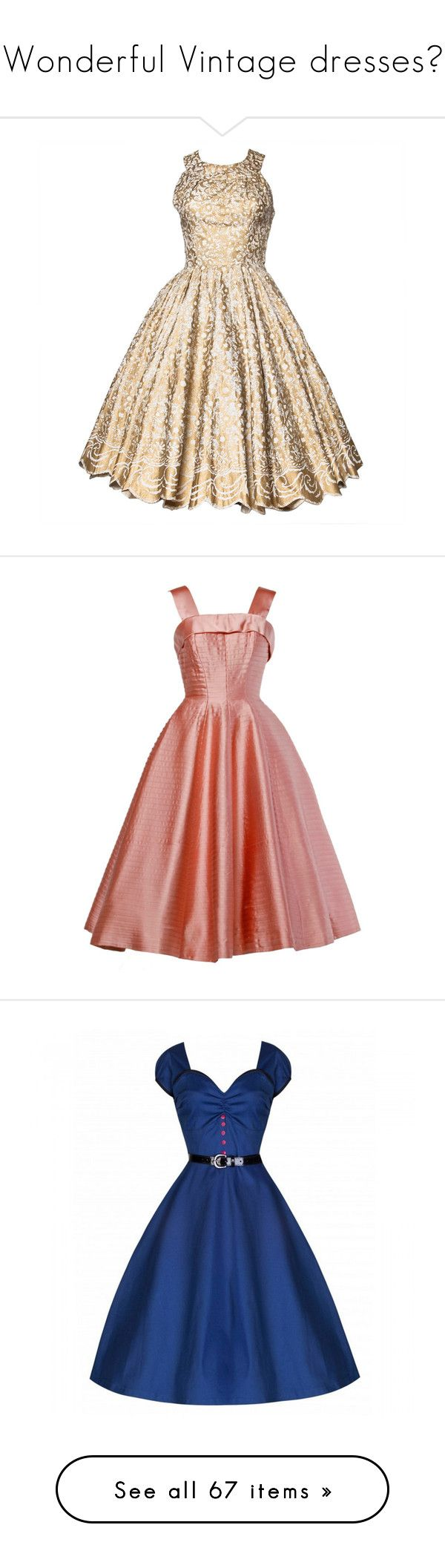 """""""Wonderful Vintage dresses♥"""" by renete ❤ liked on Polyvore featuring dresses, 1950s, day dresses, vintage cocktail dresses, fit and flare dress, white cocktail dresses, metallic gold dress, white scalloped dress, short dresses and pink"""