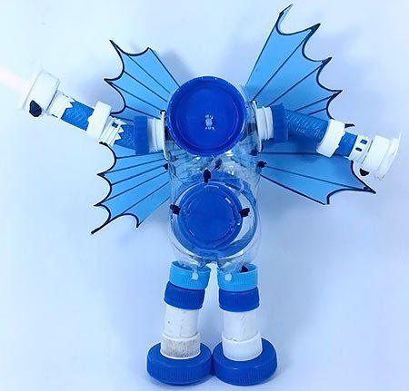 Vila do Artesão - Robô Blue, toy arte de reciclagem