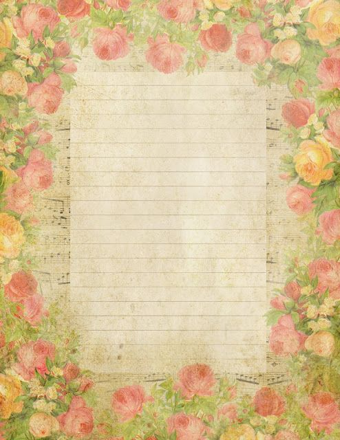 Queen of Blossoms ~ free printable (lined) stationery page with roses and French music