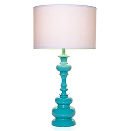 Modern Turquoise Table Lamp spray paint an old country wooden one and add barrel shade