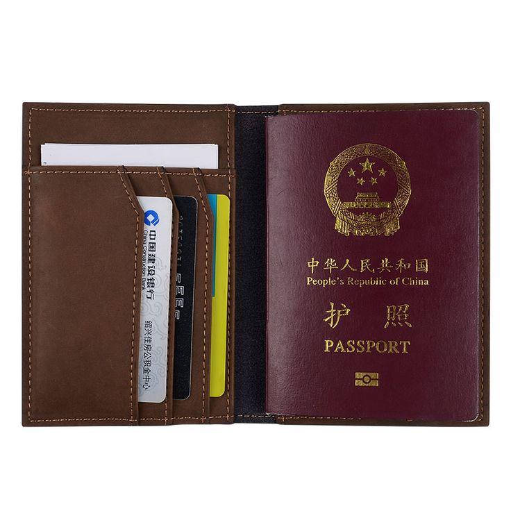 Venta caliente de Los Hombres de Cuero Genuino Pasaporte Cubierta Pasaporte Titulares de Tarjetas de Identificación de Crédito Sólido Hecho A Mano Tarjetas de Caso Titular de la Cartera de Viaje