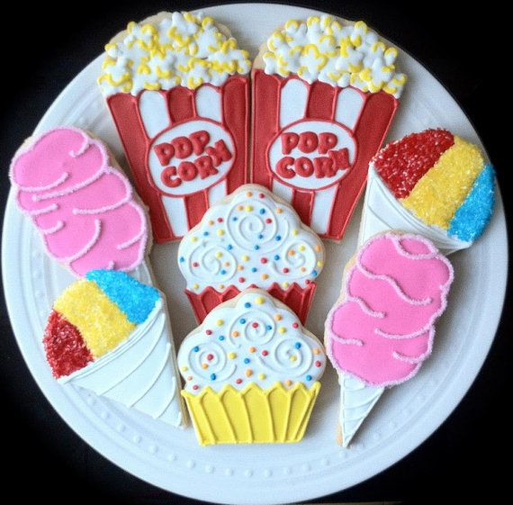 Circus Party Themed Decorated Sugar Cookies by peapodscookies