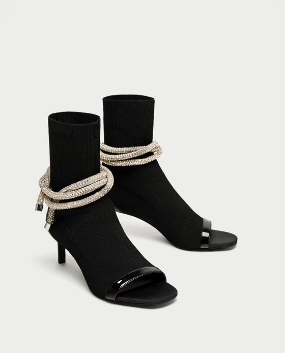 ZARA - TRF - HIGH HEEL ANKLE BOOTS WITH OPENING AND CORD