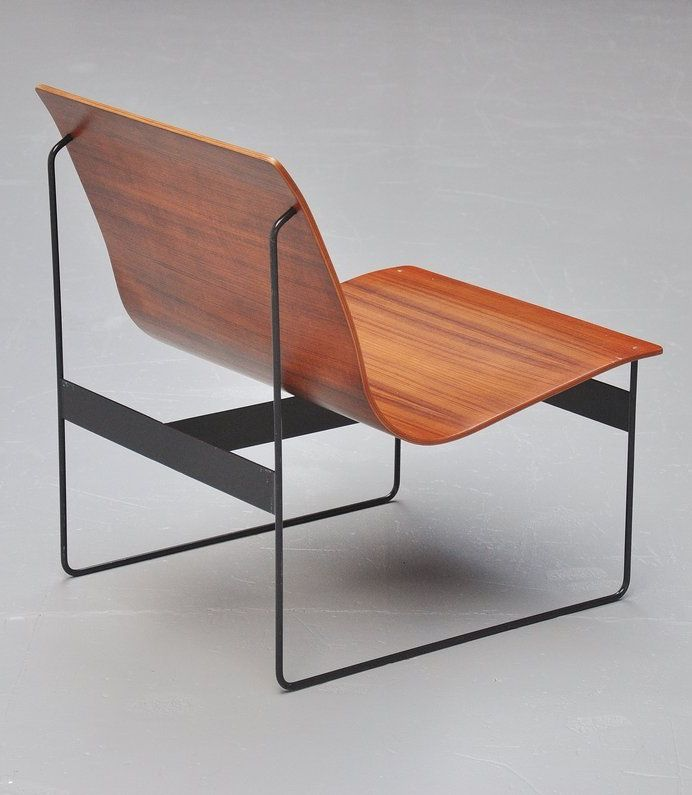Günter Renkel; Teak Plywood and Enameled Metal Lounge Chair for Rego, 1959.