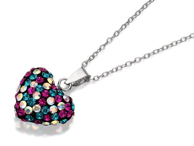 Silver Multi Colour Crystal Heart Pendant And Chain - 063452