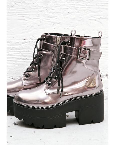 Metallic Dreamz #DollsKill #boots #platform #metallic #laceup #buckle #lookbook