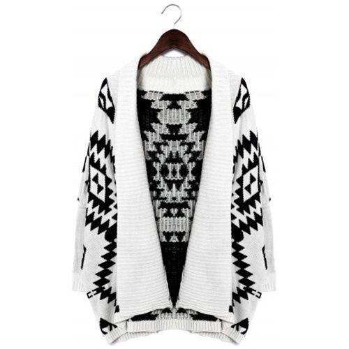 Chicwish シックウィッシュ ニット カーディガン Aztec Open Knit Cardigan white ホワイト レディース 長袖 事務 おしゃれ 柄 秋 冬 かーでぃがん アステカ 幾何学 お洒落 海外 ブランド