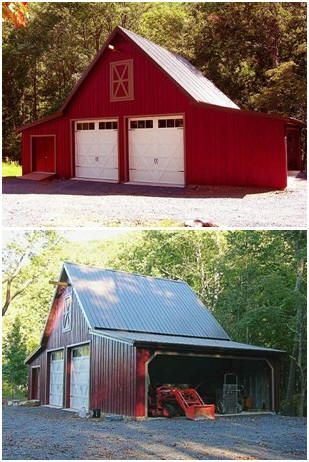 The Walnut Barn, Garage and Workshop plan set includes a 24'x24' main building with a loft. Drawings for a variety of shed-roof additions fo...