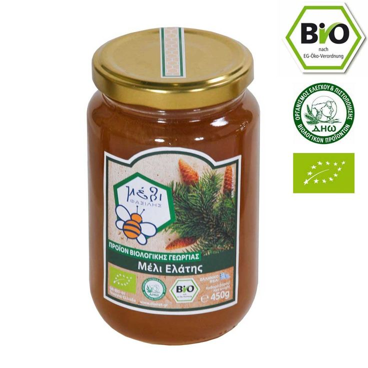 Bio fir honey 450gr from the pine forests of Parnon. The Greek fir honey from Arcadia is one of the rarest in the world, because of its unique appearance with stunning amber color and the characteristic metallic luster resulting in its interior as well as its particularly viscous nature. With its spicy taste reminiscent of toffee and the aromas of flowers and pine, this honey is a veritable feast of scents and colors.