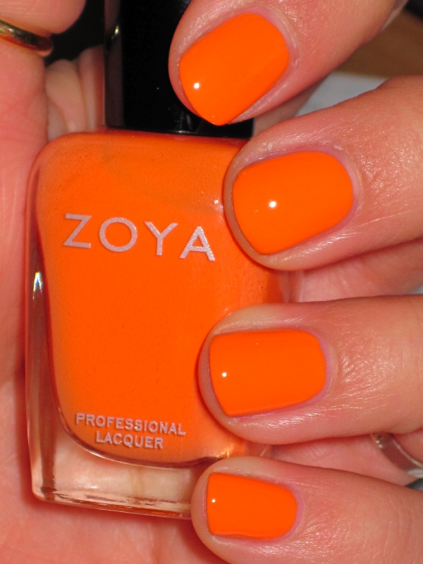Recently tried a Zoya nail polish and I'm hooked (I used Bevin, not the one shown).  Only took one coat and it's lasted with no chips for 3 days so far.