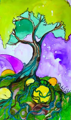 Alcohol Inks on Yupo  OMG ……..i am totally obsessed with color and TREES….so this has left me IN AWE…literally!!! I HAVE TO BUY ONE….I have to find out if the artist sells them