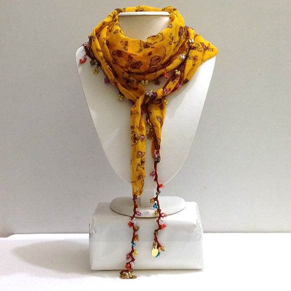 Yellow Beaded Scarf Necklace  Handmade Crocheted by istanbuloya