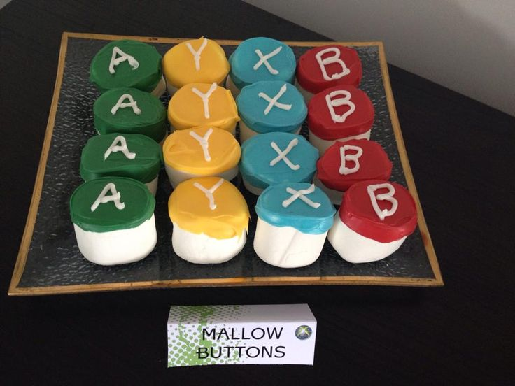 Xbox Party Food Ideas. Xbox Buttons.  Giant Marshmallows. Xbox Theme Party Printables