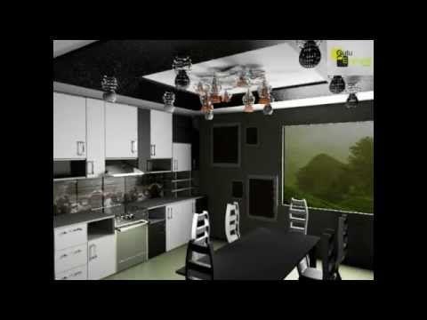 Концепт черно-белые фасады в Дизайне кухне , желтые стены в интерьере