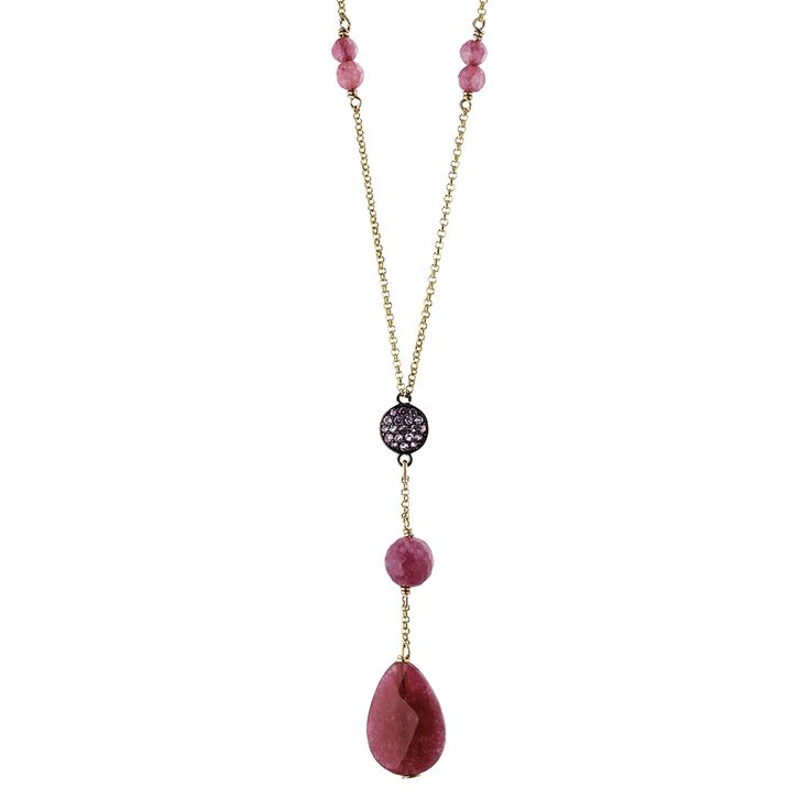 Oxette Deep Red Necklace - Available here http://www.oxette.gr/kosmimata/kolie/st.silver-rose-gold-necklace-with-stones-oxette-535l-1/      #oxette #OXETTEnecklace #jewellery