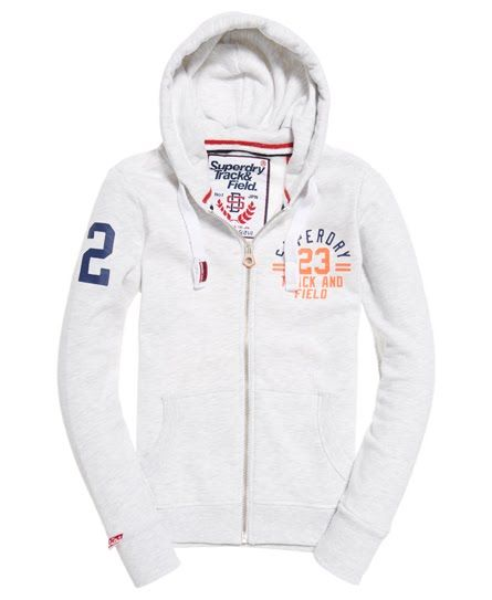 Superdry Sweat zippé à capuche Track & Field  Gris