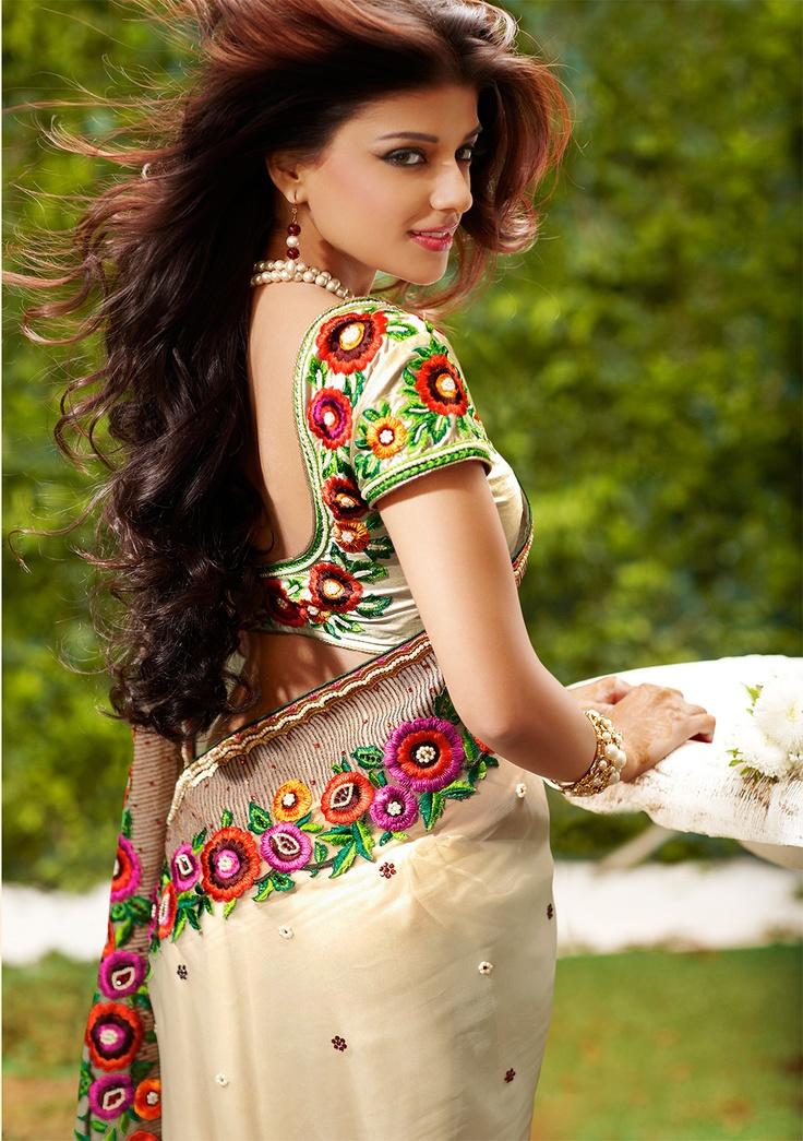 Cream Georgette Saree With Embroidery Work | Indian Trendz