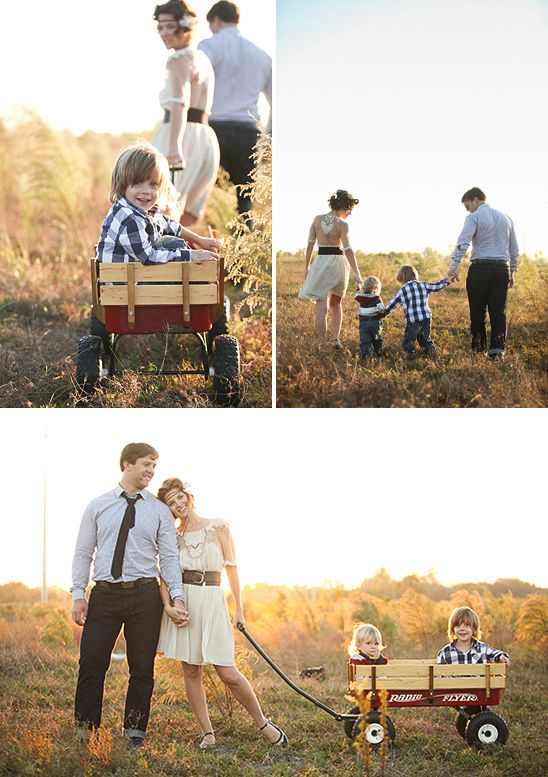 I like the couple's pose at the bottom.. and if I can find a wagon before our shoot, I'll bring one. :)