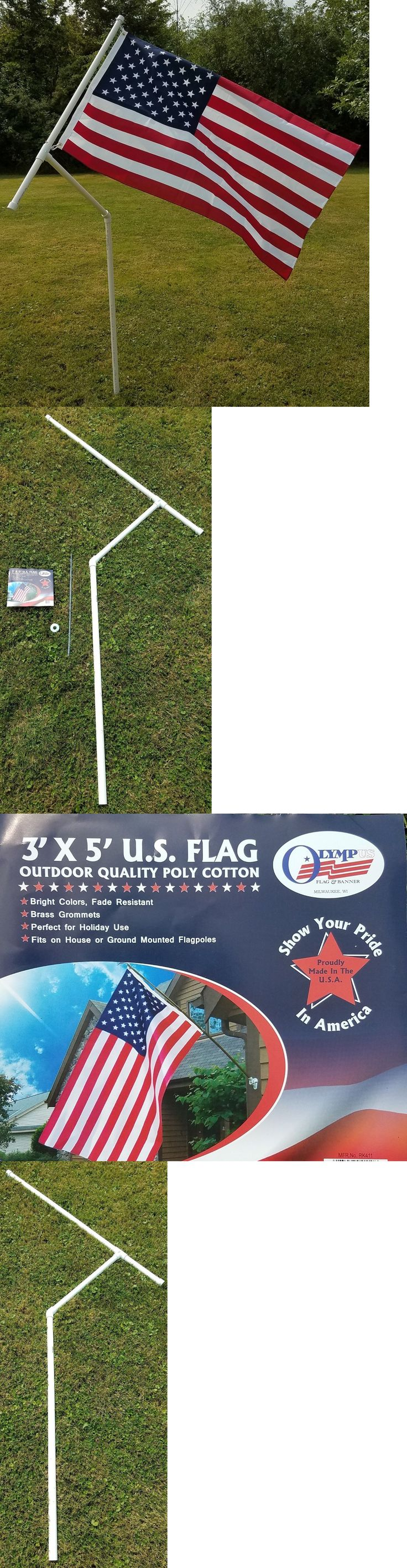 Flag Poles and Parts 43536: Rotating 1 Pvc Flag Pole With U.S. Flag - Camping, Rving, Tailgating, Sports -> BUY IT NOW ONLY: $35 on eBay!