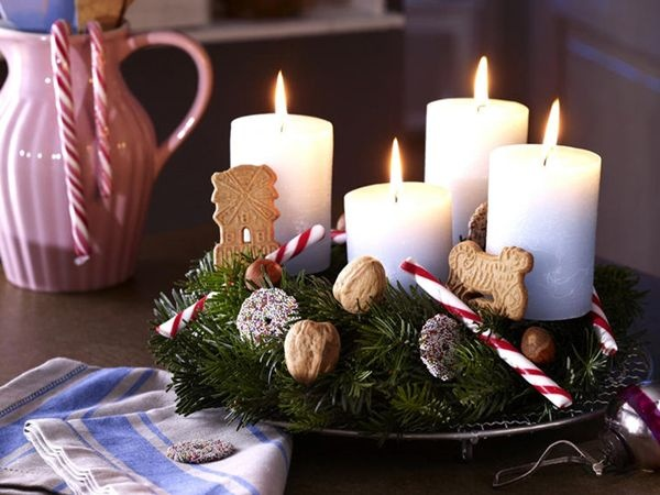 An Advent Wreath Idea From The German Decorating Magazine WohnIdee   Going  To Do It With The Nuts But With Cinammon Sticks Instead Of Candy Canes    Iu0027d Just ...