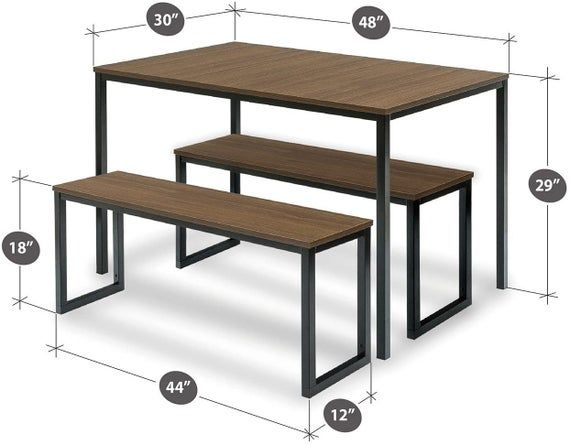 Modern Collection Soho Dining Table With Two Benches 3 Piece Set Farmhouse Table Dining Room Table Moveis De Madeira Moveis De Ferro Moveis Industriais