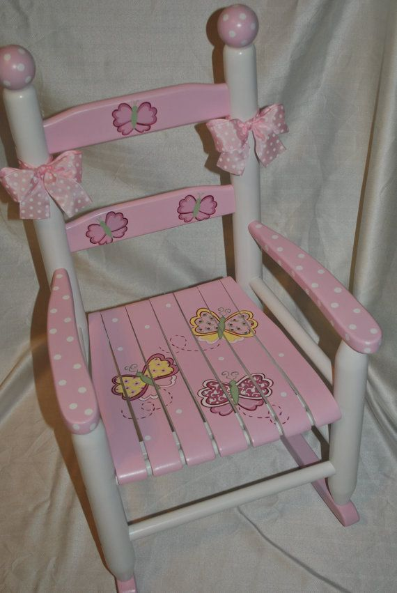 Childrens Custom Hand Painted Whimsical Pink Butterfly Childrens Kids Rocking Chair