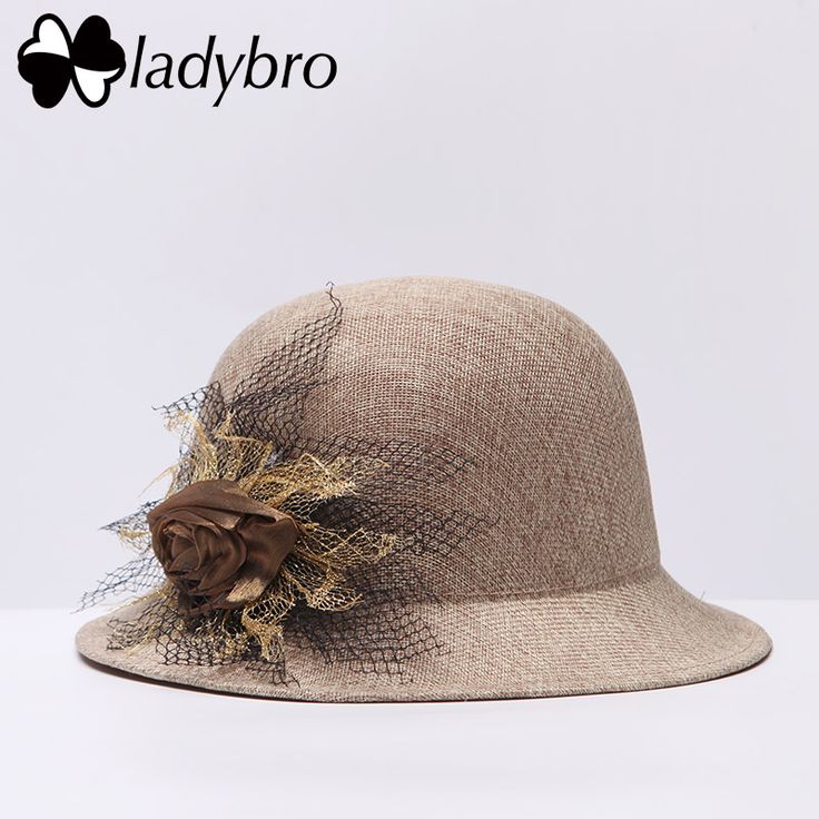 Ladybro New Spring Women Sun Hat For Female Bowler Hat Lady Fedora Hat Summer Vintage Beach Bucket Cap Fashion Flower Linen Cap