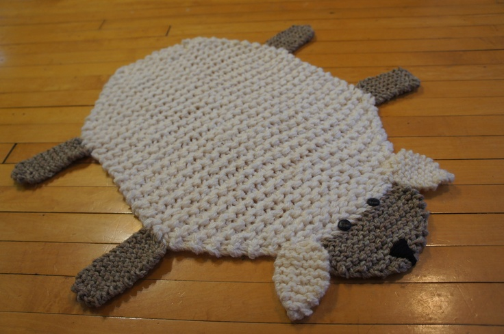 Flat sheep rug/ mat/ blanket. WolverineKnits via Etsy.