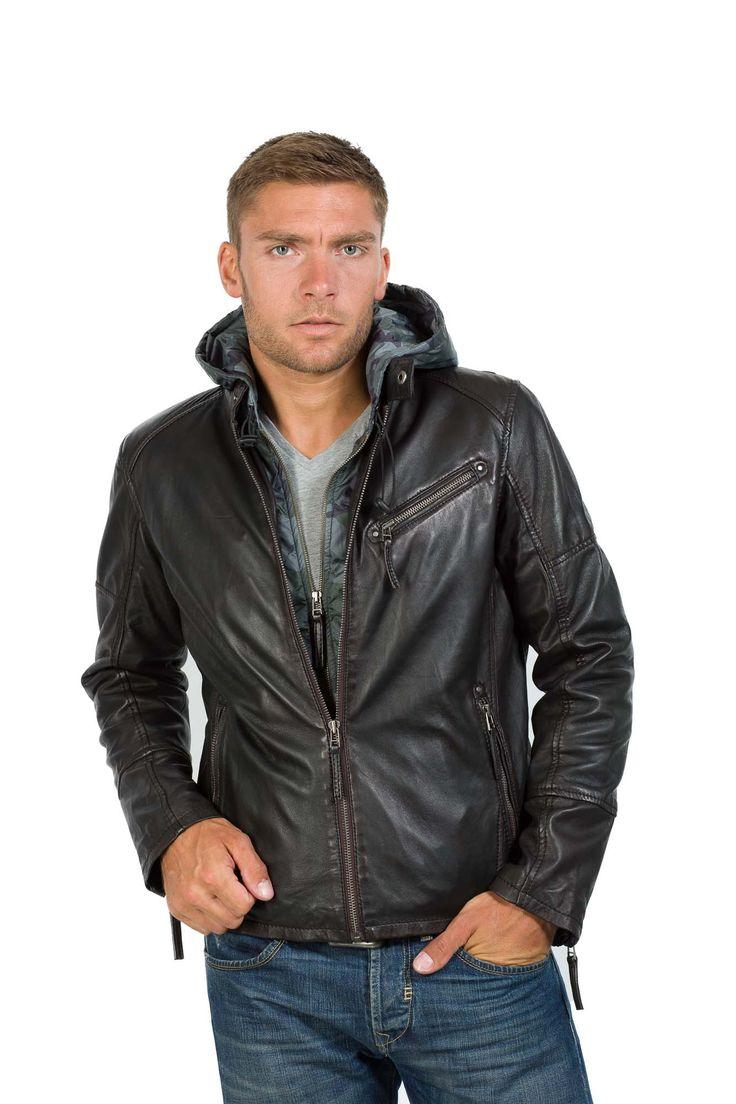 Stylische Lederjacke von Trapper mit Kapuze schwarz