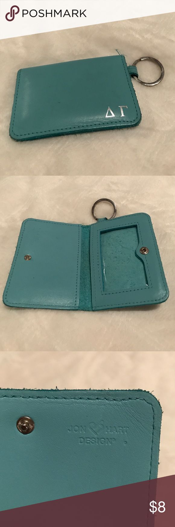 John Hart Delta Gamma card holder Job Hart card holder in Tiffany blue. Key ring. Embossed with the Greek letters for Delta and Gamma. Lightly used. Jon Hart Accessories Key & Card Holders