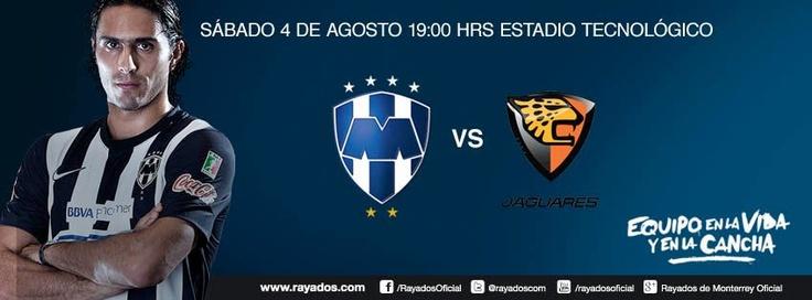 Rayados vs Jaguares. Agosto 4. 19:00hrs. Estadio Tecnológico.    Boletos en venta a través del sistema Ticketmaster.  http://www.ticketmaster.com.mx/Los-Rayados-de-Monterrey-boletos/artist/1193326