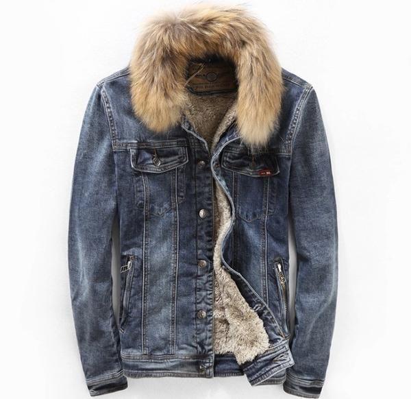 Denim and Fur Jacket with Fur Collar