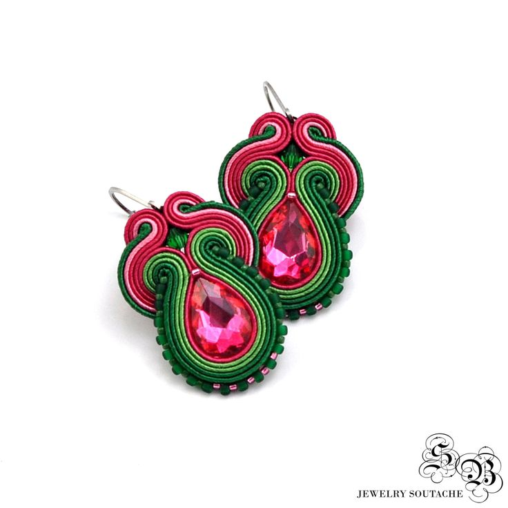 Dangle Green Pink Earrings, Soutache Earrings, Handmade Earrings, Colorful…